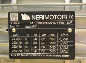 targhetta motore elettrico isolamento classe f