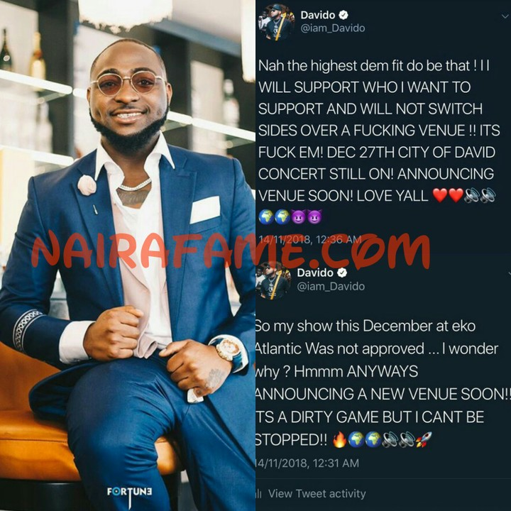 Davido Cries Out: My Show This December At Eko Atlantic Was Not Approved (Photos) 1