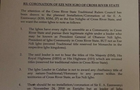 PRESS RELEASE: Traditional Rulers Council In Cross River Warns Igbo Community