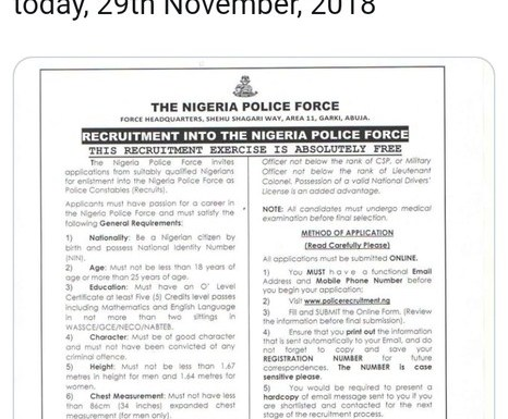 Nigeria Police Recruitment For Constables 2019 Begins (Details)