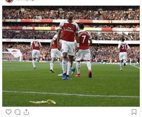 Arsenal Star Aubameyang Responds To Racial Abuse From Tottenham Fan (Photo)