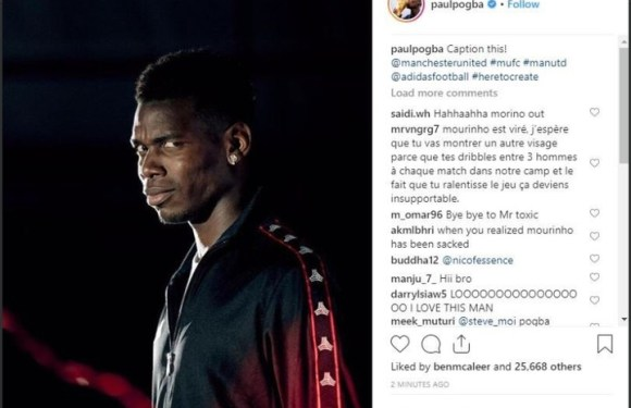 Paul Pogba Reacts After Jose Mourinho's Sack By Manchester United (Photos)