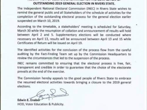 INEC Announces Final Details for Supplimentary Elections in Rivers