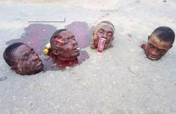4 Persons Beheaded By Cultists In Ovogo Rumuji, Rivers State (Very Graphic Photo)