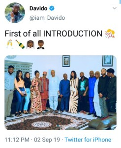 Davido Set To Marry Chioma, Visits Her Family For Introduction