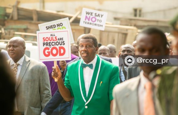 Insecurity Protest: Adeboye Leads RCCG Members On CAN Prayer Walk Today (Photos & Video)