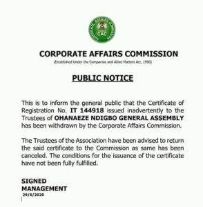 Corporate Affairs Commission allegedly Cancels Ohanaeze Ndigbo Registration