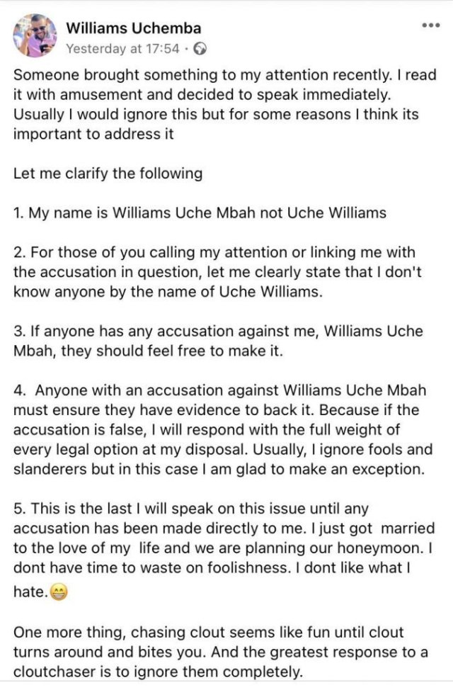 Williams Uchemba reacts to gay allegation 9