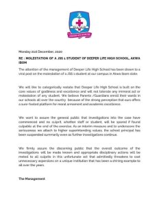 Child Abuse at Deeper Life College: School Management writes open letter is Principal is suspended