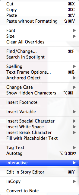 InDesign Menu