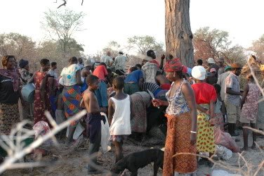 Sharing elephant meat with an entire village.