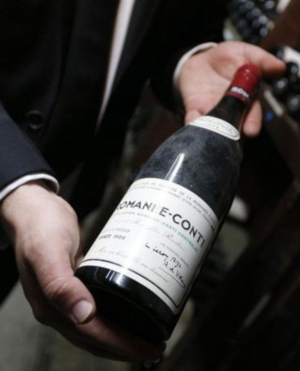 Snobs: photo of bottle of wine from non-existent Romanee Conti.