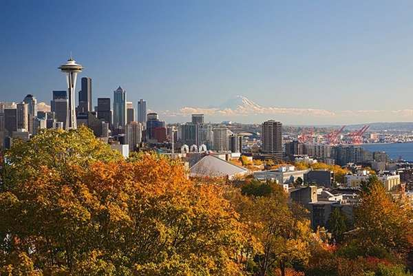 Wild: photo of Seattle skyline with Mt Rainier in background.