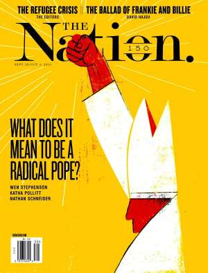 Forbes: front cover of The Nation magazine with article on radical popes.