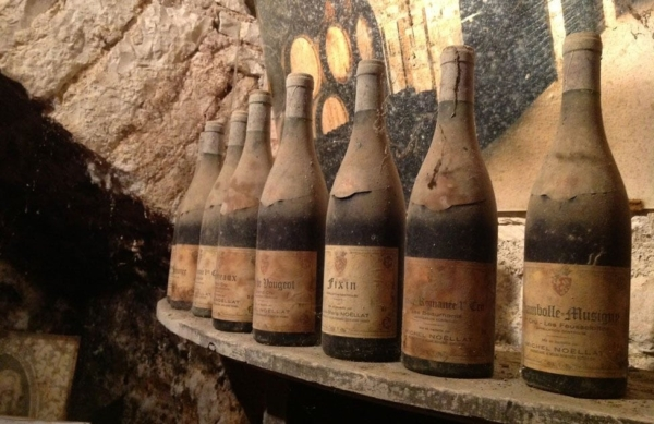 Snobs: photo of dust-covered bottles of wine from Burgundy region of France.