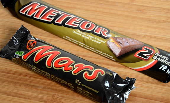"Food Fight: ""Meteor"" dollar store chocolate bar vs. Mars"
