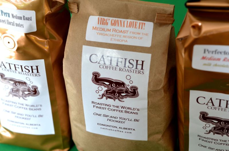 Locally roasted coffee from Catfish Coffee Roasters in Edmonton. I've stocked up!