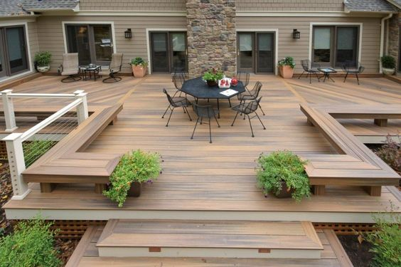 large elevated wooden deck