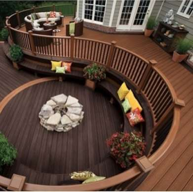 spiral wooden deck with fire pit
