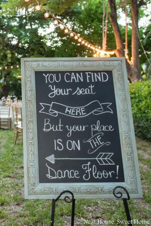 vintage framed chalkboard dancefloor wedding