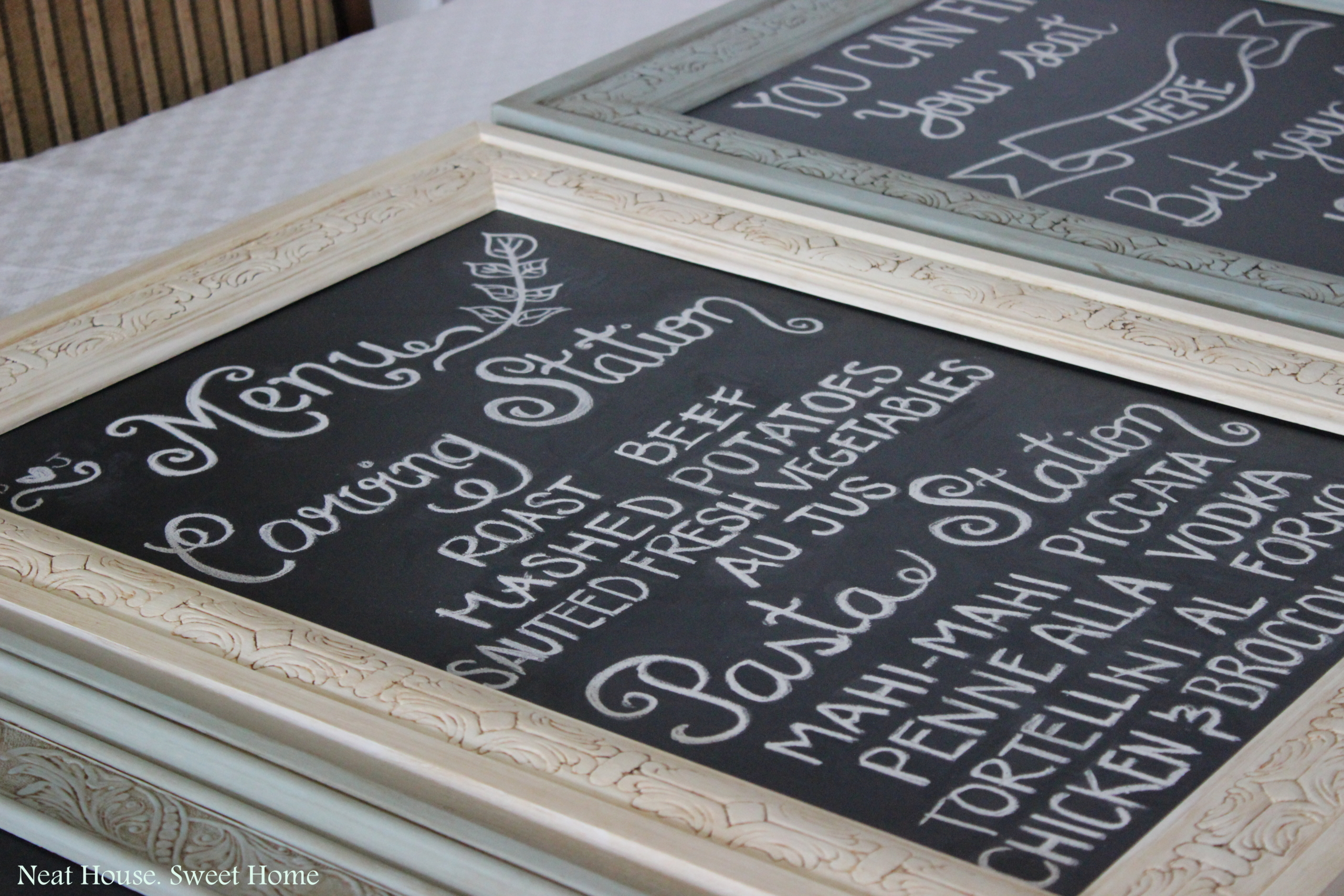 finding ornate vintage frames for these chalkboards was not easy we searched high and low mostly at antique and consignment shops and thrift stores for