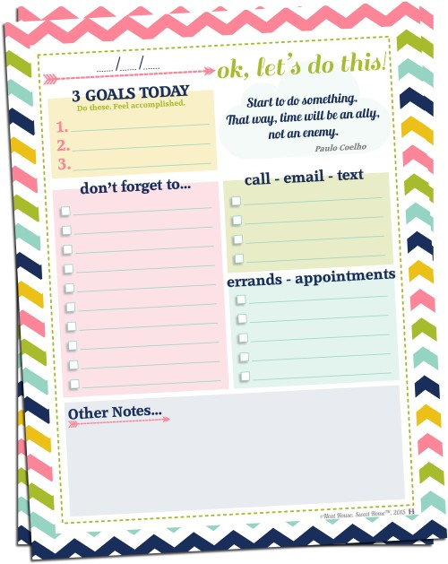 Setting Daily Goals Free Printable Neat House Sweet Home