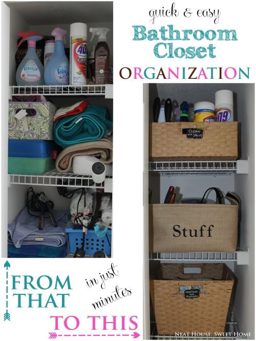 quick easy bathroom closet organization neat house sweet home