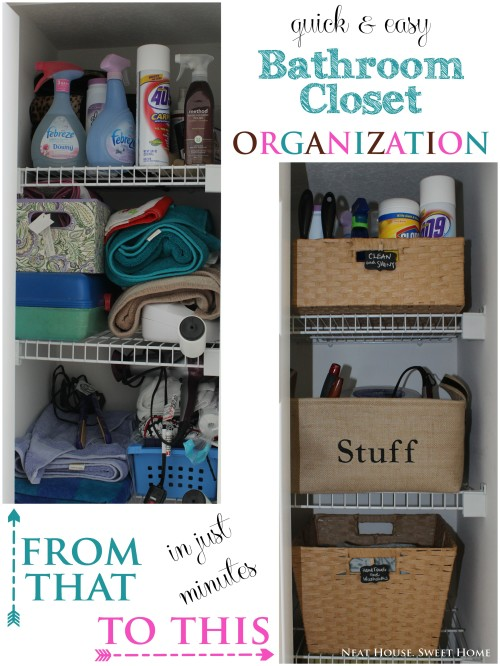 quick easy bathroom closet organization neat house sweet home