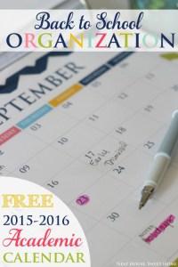 Back To School Calendar – Free Printable