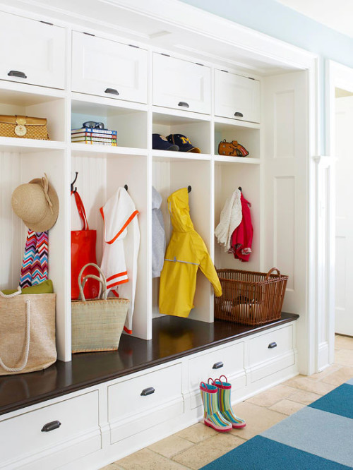 Designate a space to catch shoes, backpacks, purses, coats, etc.