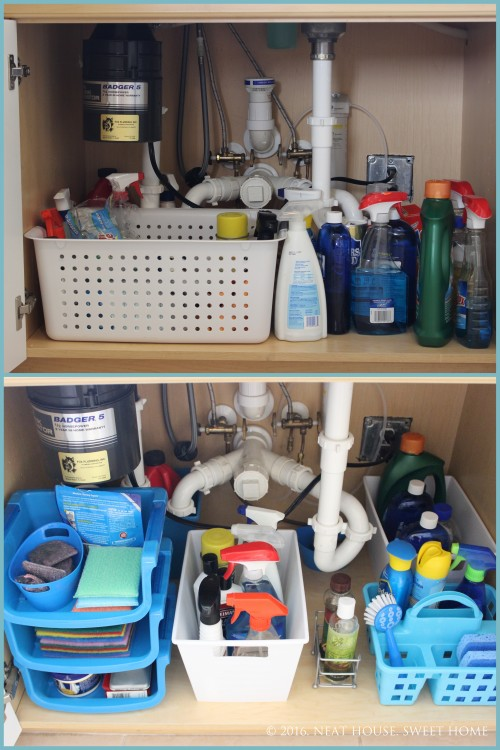 How to Organize Under the Kitchen Sink with Dollar Store Bins