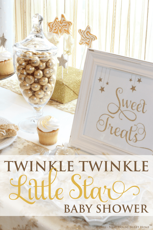 A stunning gender neutral Twinkle Twinkle Little Star baby shower theme and decor.