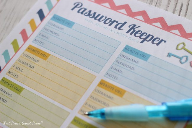 Organize your online accounts with this free printable password keeper.