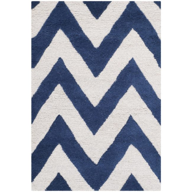 Navy and white chevron area rug - Azure Inspired Laundry Room Design Board