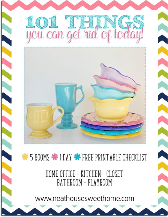 Are you drowning in clutter? Don't seem to have enough time to purge your home? Here is a free printable checklist of 101 things you can get rid of today.