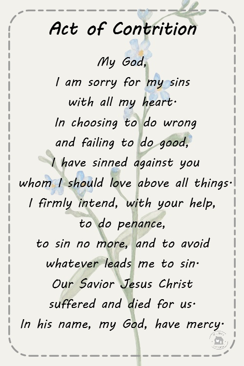 It's just an image of Old Fashioned Act of Contrition Prayer Printable