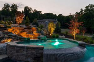 hot tub with water feature