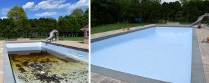 Before and after photos of pool liner replacement