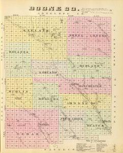 1885 Map of Boone County Nebraska