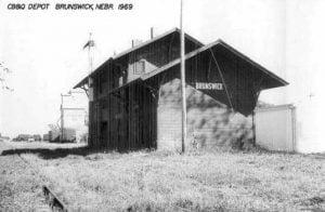 CB and Q Depot in Brunswick Nebraska, 1969