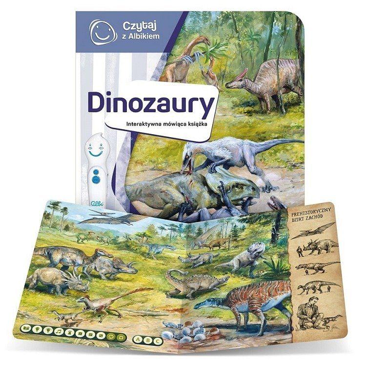 okładka i strona z książki interaktywnej czytaj z Albikiem o dinozaurach