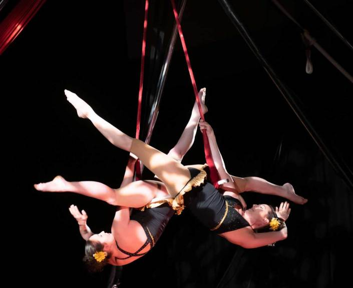 photo of the founders of NECCA performing a duo act on the trapeze