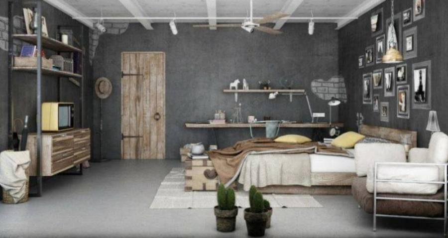 awesome-bedroom-in-grey-and-brown-industrial-style-1