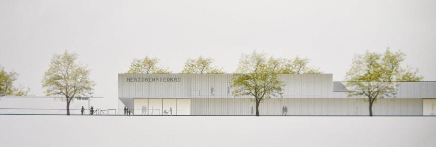 Illustration zum Entwurf für den Kombibad Neubau   Foto: M. Schülke, Zeichnung: Sacker Architekten