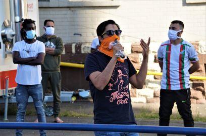 Demo vor der Landeserstaufnahme in der Industriestraße   Foto: Christian Ratz