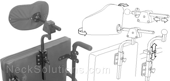 Headrest for Wheelchair  Padded Head Support  Hardware