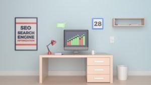 desktop computer doing SEO marketing