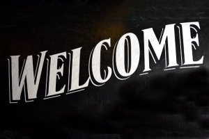 a welcome signage