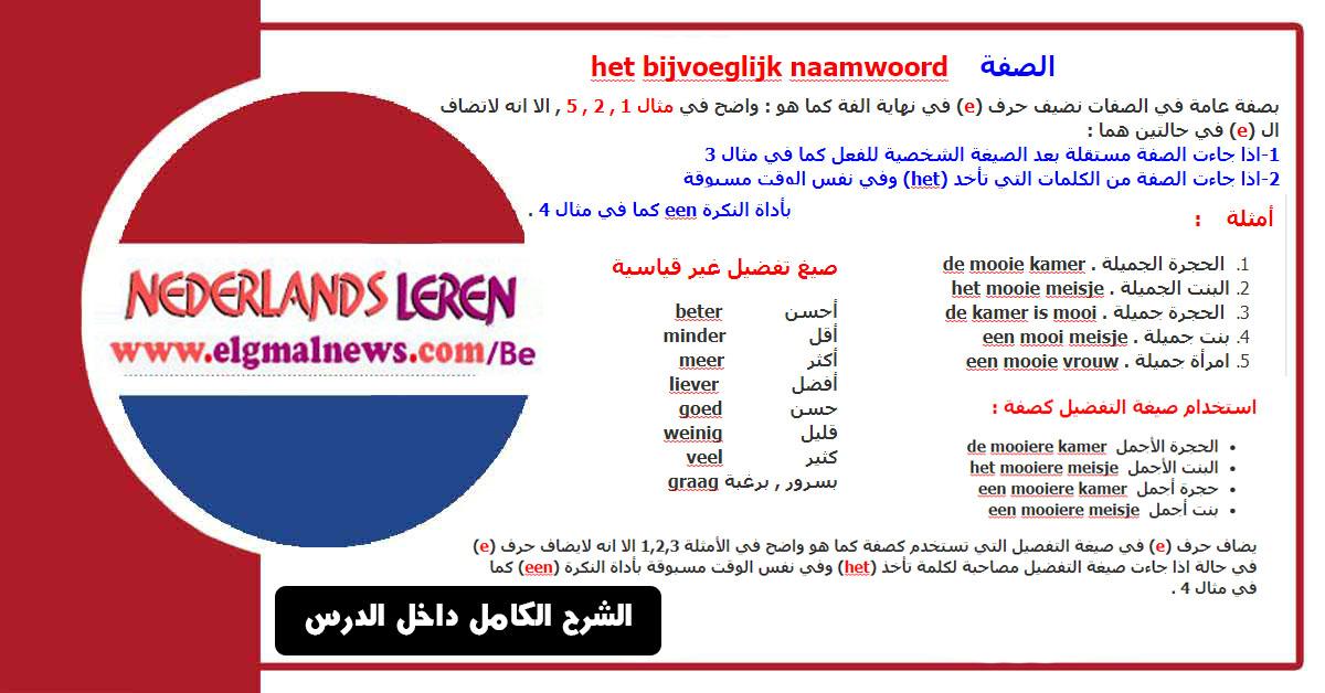 شرح بسيط ومهم في تعلم اللغة الهولندية  het bijvoeglijk naamwoord