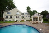 Backyard Pool House and Garage in Needham, MA